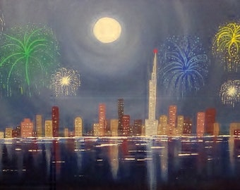 Fireworks Original Painting Surfers Paradise New Years Eve Acylic