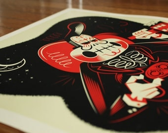 Limited Johnny Cash Print Day of the Dead Glow in the Dark Poster by Robot Soda