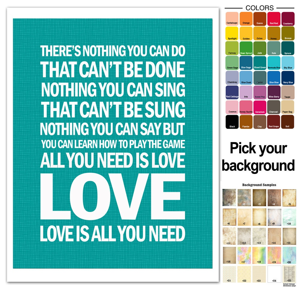 The Beatles Song Lyric Print All You Need Is By