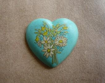 Vintage Glass Floral Heart