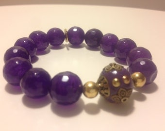 Amethyst Agate with Bali Accent bead Bracelet