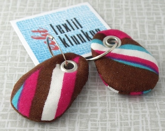 striped brown and pink hand-sewn fabric earrings