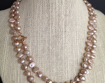 Champagne Pink Freshwater Pearl Necklace, Bridal Jewelry, Bridesmaids Necklace