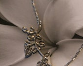 Asymmetrical Leaf & Branch Silver Chain Necklace