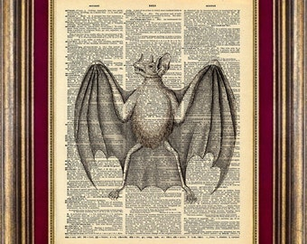 BAT Dictionary page art print book page art print up cycled