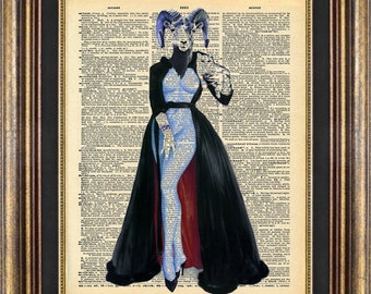 Pin Up Pagan Vintage Book Page print: Baphomet Unique gift Dictionary page art print up cycled