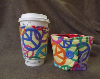 Coffee Cozy by Nativegoddessdesigns -  Peace signs