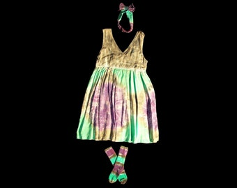 Girls Tie-Dye Dress Set - Rayon,  Youth Medium