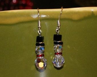Snowman Earrings - Swarovski crystals in sterling silver.