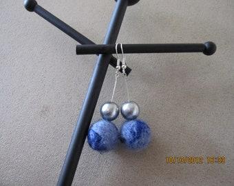 Blue Handmade Needle Felted Earrings
