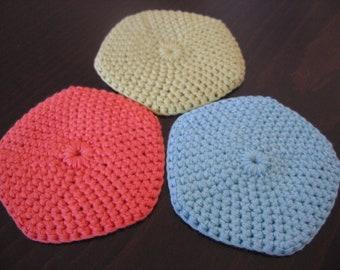 Set of 3 cotton coasters