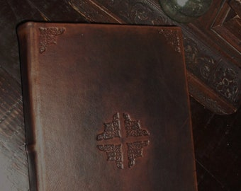 Italian handmade leather journal - engraved with bookbinding tools