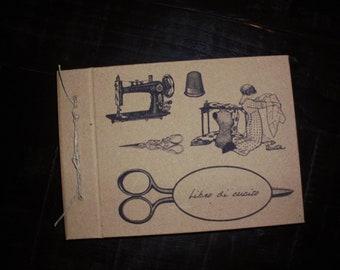 Handmade notebook-kraft paper- cookbook- sewing book- shabby,vintage, retro, country