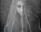 The Mourning Bride Conceptual Photograph. dark art, wedding veil, sensual, female, contemporary, girl, surreal, black and white