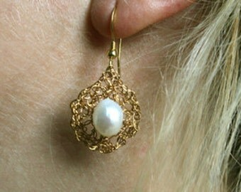 Earrings gold plated bead with Gold Freshwater Pearl Earring noble simply festive