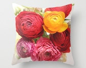 """Throw Pillow Cover - Ranunculus Flowers - For You - Bouquet  - 16""""x16"""" 18''x18'' 20''x20'' Photography 100% Spun Polyester summer red yellow"""