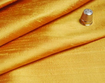 "Silk fabric 100%, Indian Dupioni, iridescent Two tones Yellow, 54"" Width"
