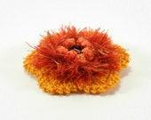 Crochet Flower Brooch - Orange