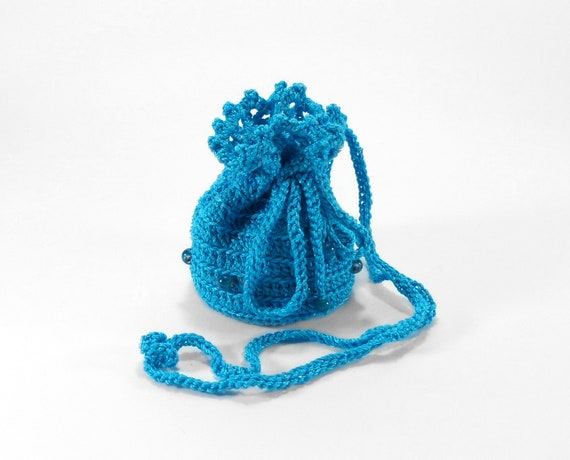 small crochet pouch jewelry bag with drawstring blue by