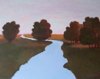 Large Original Oil Painting 36x48 landscape art, river scene, evening, dark green, blue, dark red, country fields, stream, sunset,