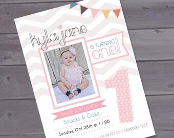 First birthday invitation - Girly Vintage Printable