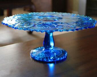 "Blue Cake Stand / 13"" Vintage Cake Plate Pedestal / Vintage Glass Cake Stand Cupcake Stand Pedestal for Truffle Petit Four Macaron Cake Pop"