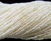 2-2.3mm Button White Freshwater Pearl 15 inches length, 38 cm  Lot 5pieces-