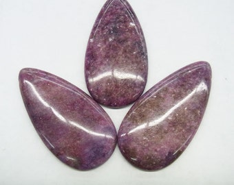 30x60mm Lepidolite Flat Waterdrop Gemstone Pendant Bead- 15''L Semiprecious Gemstone Bead Wholesale Beads Supply