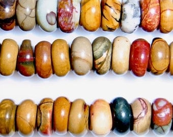 "6mm Rondelle Picasso Jasper Beads 15""l-"