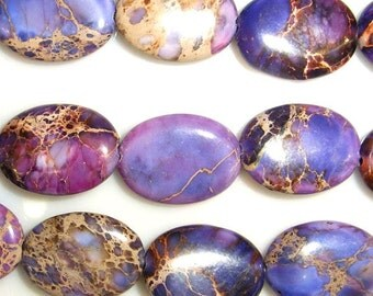 8X10mm Oval Imperial Purple Jasper Beads - 7542