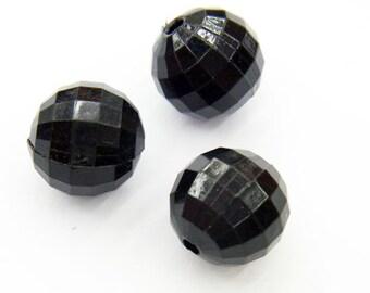 8mm Round Cut Acrylic Bead Black - Lot 15pieces - 2672 -