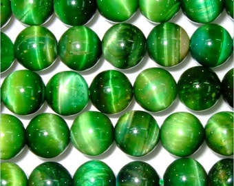 8mm Round Tigereye Green Dyed Beads - 9116