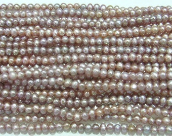 3-4mm Genuine Freshwater Pearl Offround Purple 15''L 38cm Loose Beads - 5272
