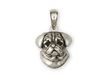 Sterling Silver Pug Pendant  - PG33P