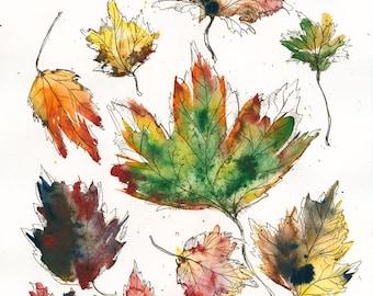 Wild Leaves // ILLUSTRATION // 13x19