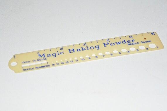 Knitting Gauge Ruler : Magic baking powder plastic knitting needle gauge and ruler