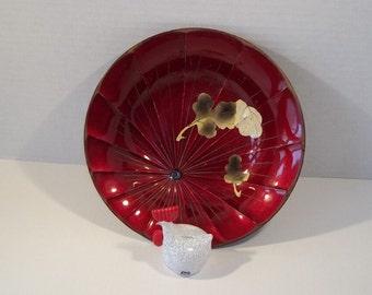 vintage Japanese red lacquer plastic presentation decor bowl