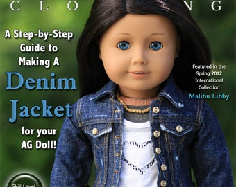 Pixie Faire Liberty Jane Denim Jacket Doll Clothes Pattern for 18 inch American Girl Dolls - PDF