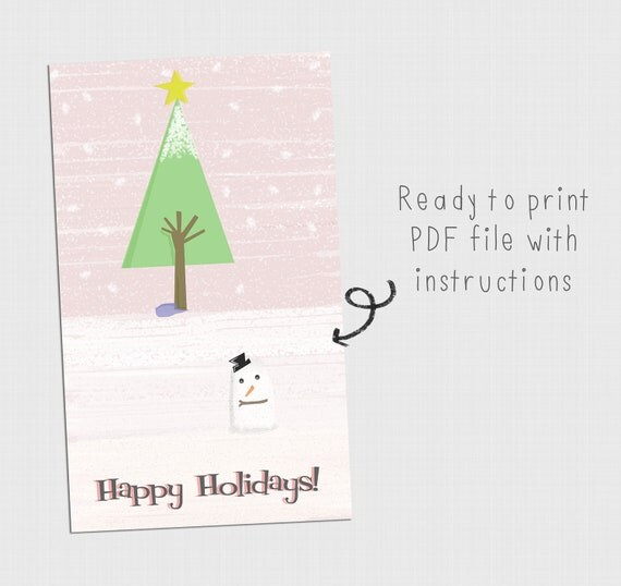 Printable Happy Holidays Card (PDF File)