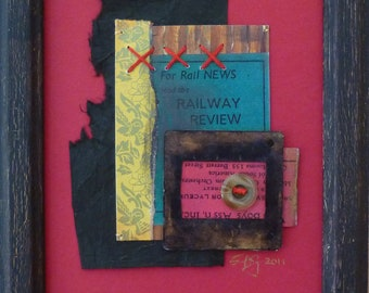 Railway Reviews-Framed Mixed Media art collage on paper