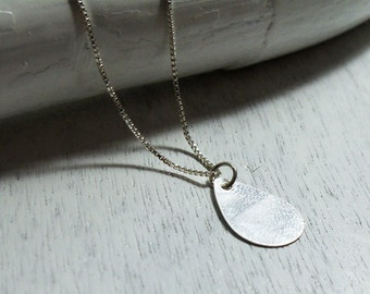 Sterling Silver Necklace with a Drop Pendant  / Silver Drop Pendant / Sterling Silver Charm / Drop Pendant / Silver Drop / Basic Necklace