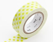Washi Tape, MT Tape, Moegi, Lime, Neon Yellow Green, Polka Dots, Japanese, Wedding, Birthday