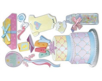 New - Jolees Dimensional Stickers Baby Shower 8pcs