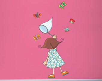 Little Girl with Butterflies - Wall Decal - Color Print