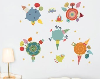 Planets - Wall Decal - Color Print