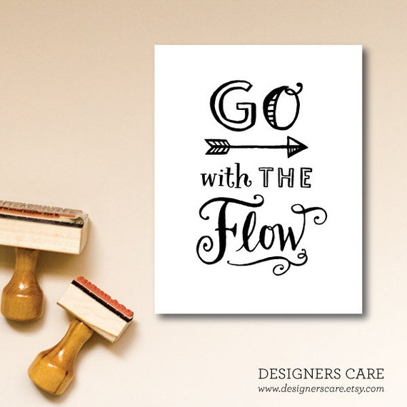 "One Inspirational Note Card - ""Go with The Flow"""