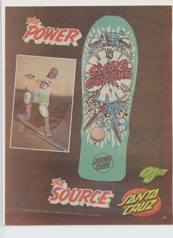Items Similar To Claus Grabke Santa Cruz Skateboard Ad Click Santa Claus Skateboard