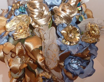 Something Blue Evening in Paris Brooch Bouquet ON SALE