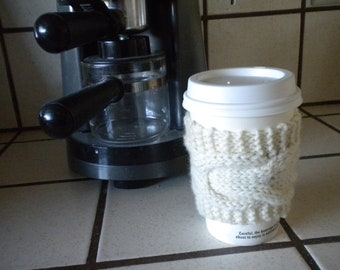 Hand Knit Cabled Coffee Cup Cozy, Sleeve - Cream