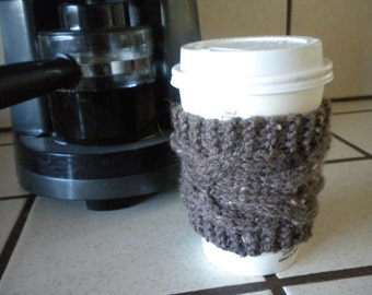 Hand Knit Cabled Coffee Cup Cozy, Sleeve - Nubby Taupe